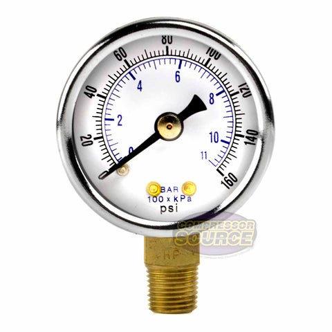 "1/8"" NPT 0-160 PSI Air Pressure Gauge Lower Side Mount with 1.5"" Face"
