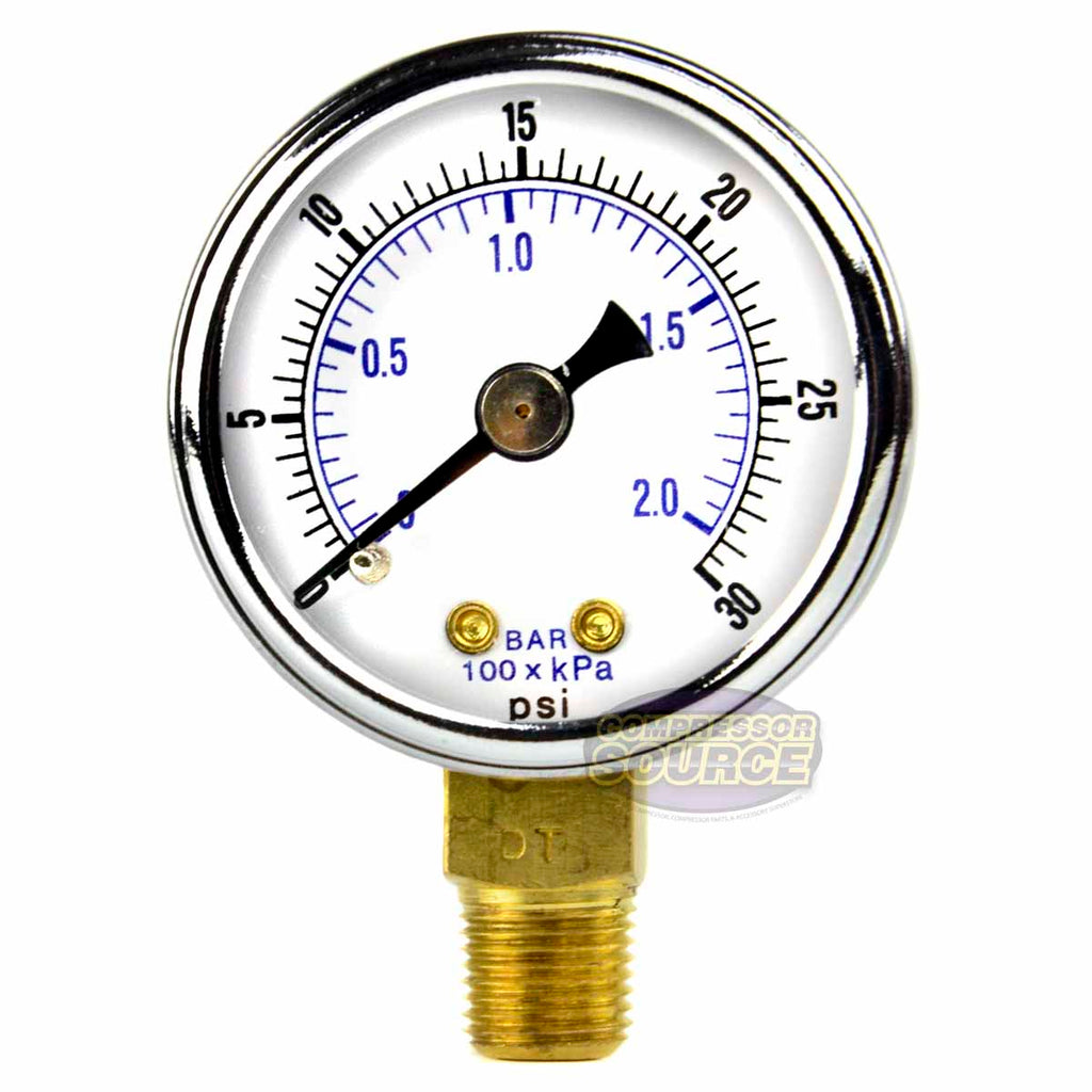 "1/8"" NPT 0-30 PSI Air Compressor / Hydraulic Pressure Gauge Lower Side Mount With 1.5"" Face"