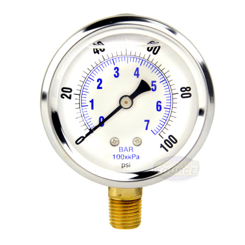 "Liquid Filled 0-100 PSI Lower Side Mount Air Pressure Gauge With 2.5"" Face"