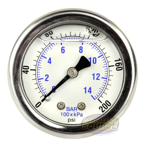 "Liquid Filled 0-200 PSI Air Pressure Gauge Center Back With 2.5"" Face"