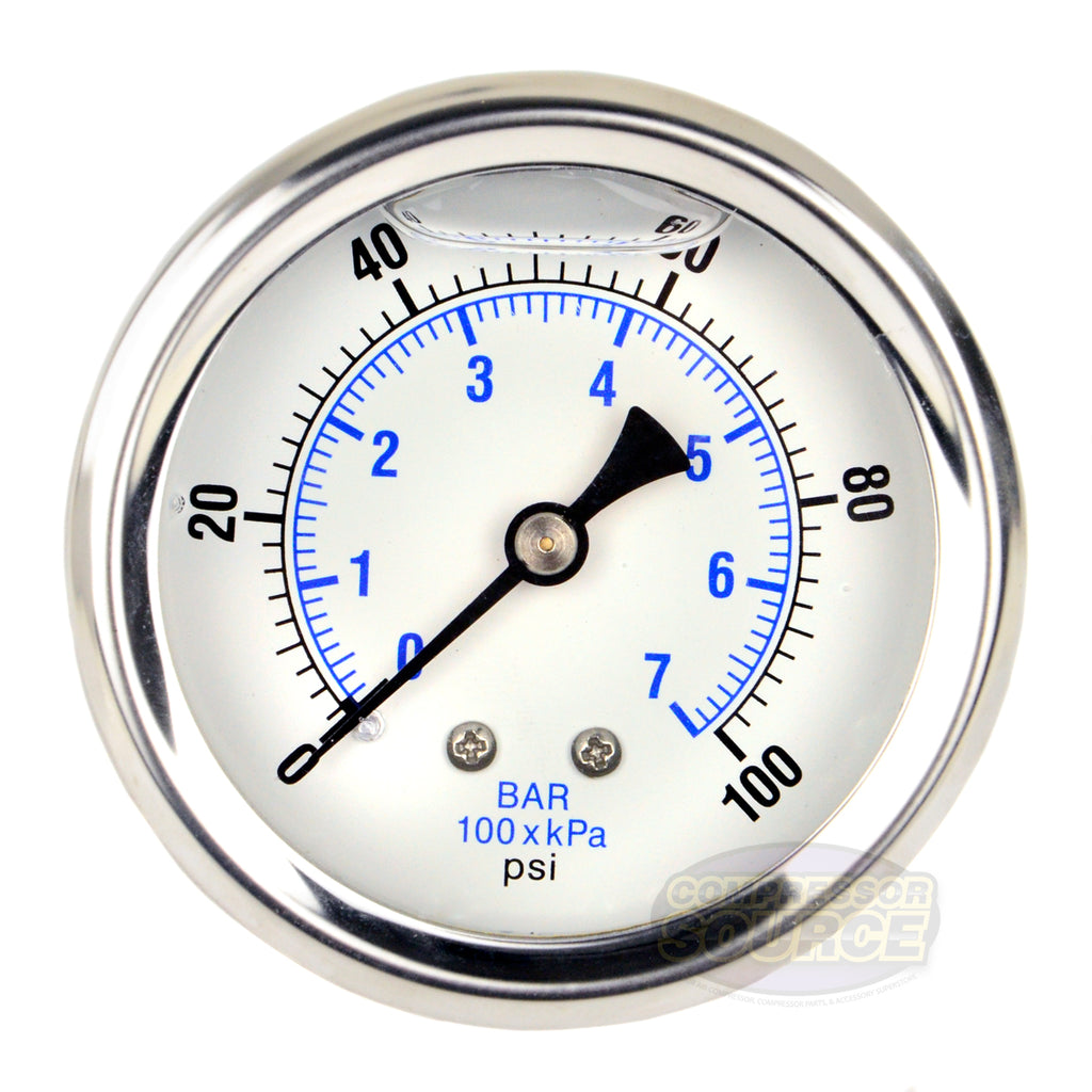 "Liquid Filled 0-100 PSI Center Back Mount Air Pressure Gauge With 2.5"" Face"