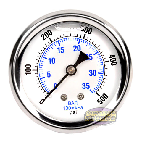 "Liquid Filled 0-500 PSI Center Back Mount Air Pressure Gauge With 2.5"" Face"