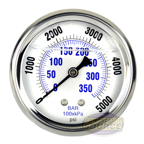 "Liquid Filled 0-5,000 PSI Center Back Mount Air Pressure Gauge With 2.5"" Face"