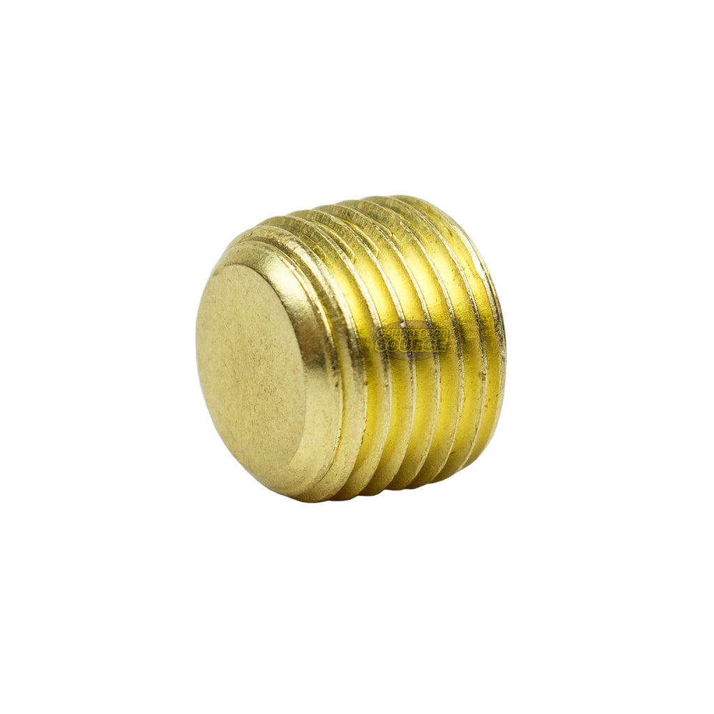 """Countersunk Hex Plug 1//8/"""" Male NPT Brass Pipe End Fitting Cap 10 Pack"""