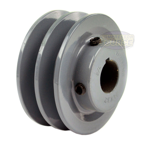 "3.25"" Cast Iron Dual Groove Pulley A Belt (4L) Style for 7/8"" Shaft"