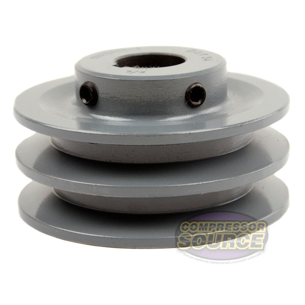 "3.5"" Cast Iron Dual Groove Pulley A Belt (4L) Style for 7/8"" Shaft"