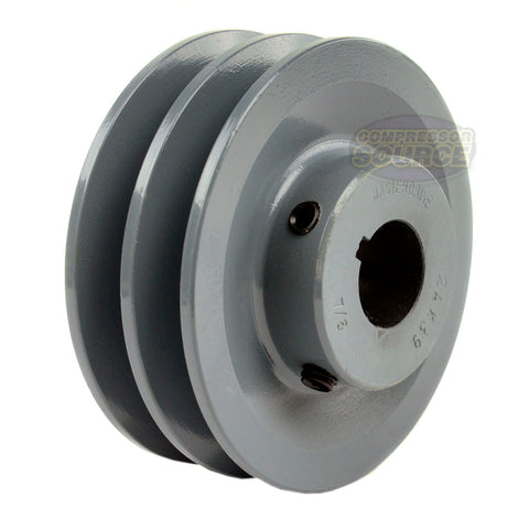 "3.75"" Cast Iron Dual Groove Pulley A Belt (4L) Style for 7/8"" Shaft"