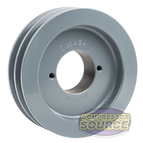 "Cast Iron 4.75"" 2 Groove Dual Belt A Section 4L Pulley With 1-3/8"" Sheave Bushing"