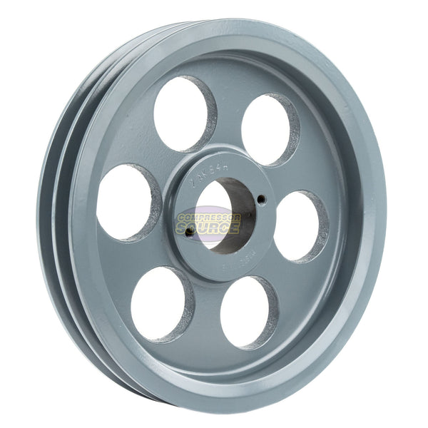 "8.25"" 2 Piece Cast iron Dual Groove Pulley A Belt (4L) Style with 1-1/8"" Bore H Bushing 2AK84H"