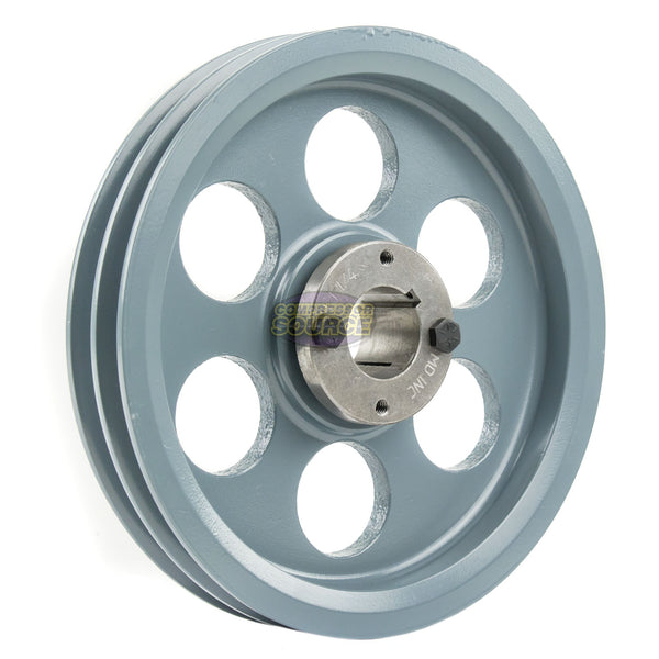 "8.25"" 2 Piece Cast iron Dual Groove Pulley A Belt (4L) Style with 1-1/4"" Bore H Bushing 2AK84H"