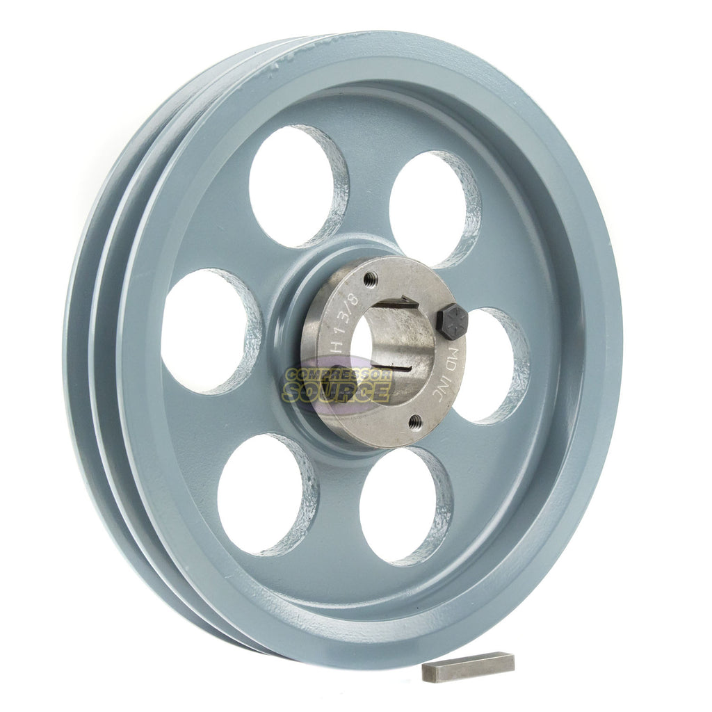 "8.25"" 2 Piece Cast iron Dual Groove Pulley A Belt (4L) Style with 1-3/8"" Bore H Bushing 2AK84H"