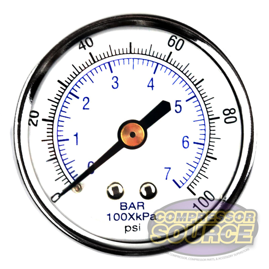 "1/4"" 0-100 PSI Air Pressure Gauge Center Back Mount With 2"" Face"