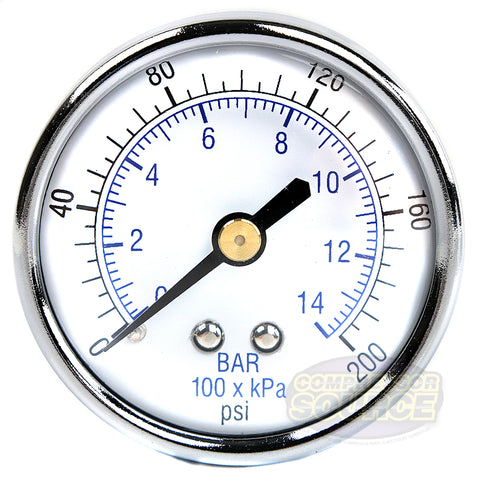 "1/4"" 0-200 PSI Air Pressure Gauge Center Back Mount With 2"" Face"