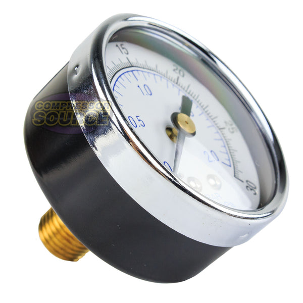 "1/4"" NPT 0-30 PSI Air Pressure Gauge Center Back Mount With 2"" Face"