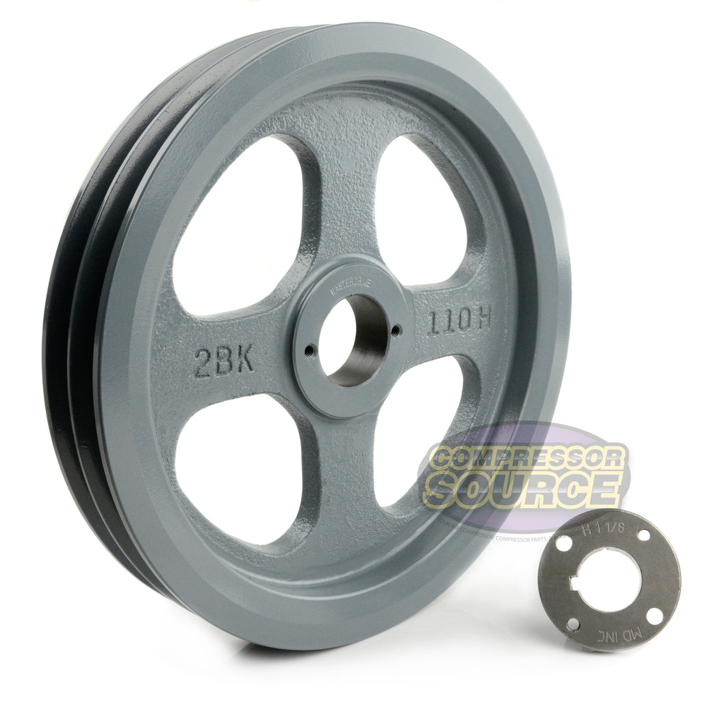 "10.75"" Cast Iron Dual Groove Pulley B Belt (5L) Style with 1-1/8"" Bore H Bushing"