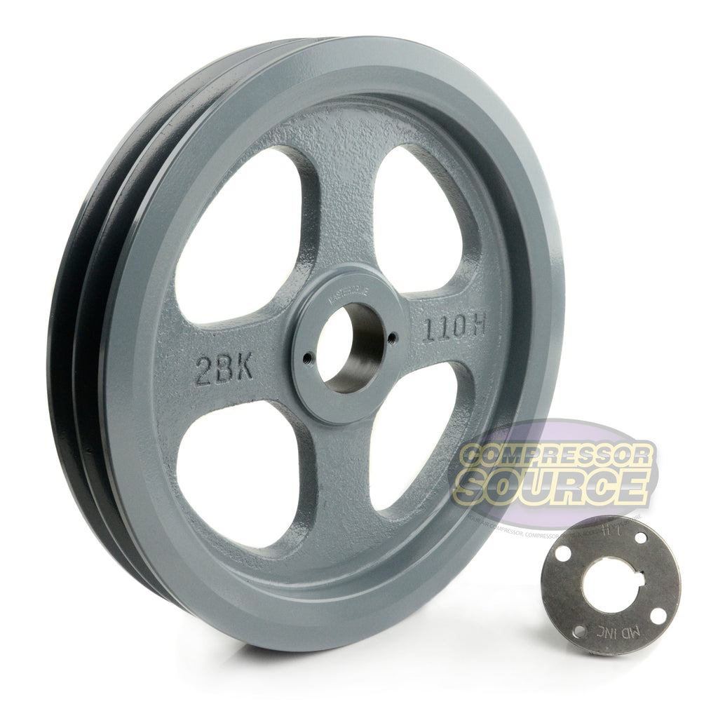 "10.75"" Cast Iron Dual Groove Pulley B Belt (5L) Style with 1"" Bore H Bushing"