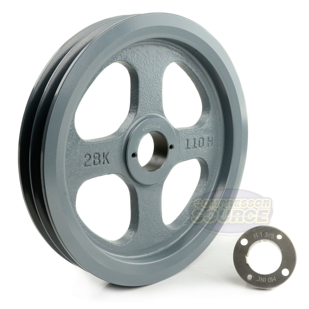 "10.75"" Cast Iron Dual Groove Pulley B Belt (5L) Style with 1-3/8"" Bore H Bushing"