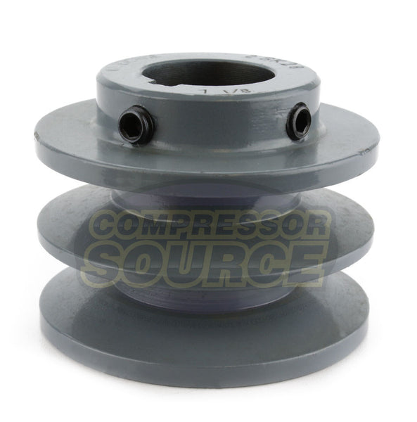 "3"" Cast Iron Dual Groove Pulley B Belt (5L) Style for 1-1/8"" Shaft"