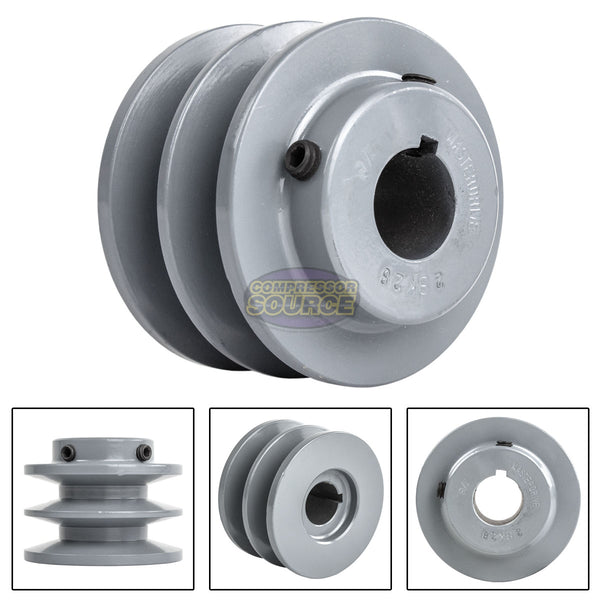 "3"" Cast Iron 7/8"" Shaft Pulley Sheave Single 2 Groove V Style B Belt 5L New"