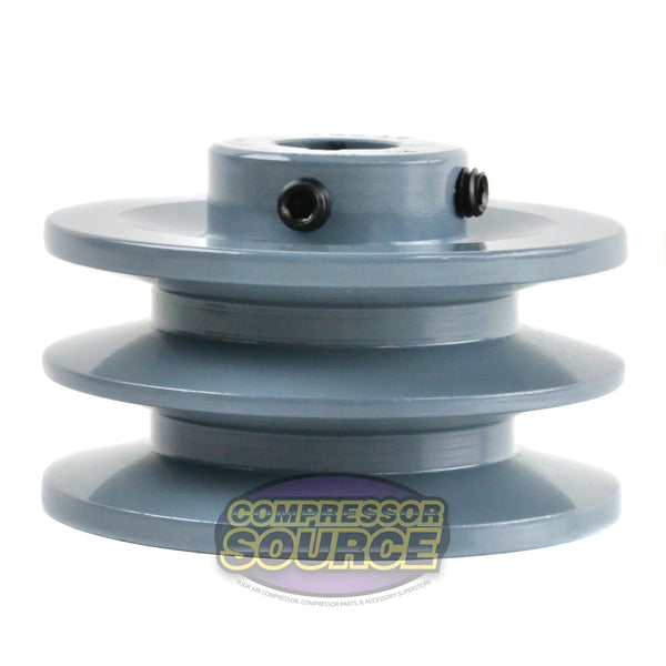 "3.5"" Cast Iron Dual Groove Pulley B Belt (5L) Style for 3/4"" Shaft"