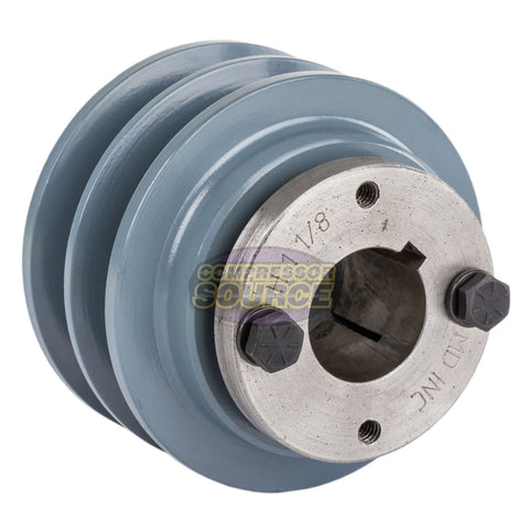 "Cast Iron 3.35"" 2 Groove Dual Belt B Section 5L Pulley And 1-1/8"" Sheave Bushing"