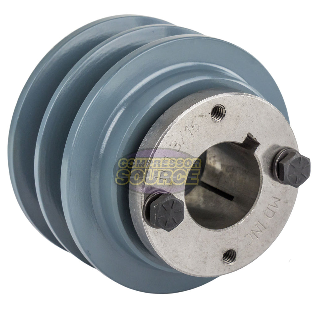 """Cast Iron 3.5/"""" 2 Groove Dual Belt B Section 5L Pulley With 1/"""" Sheave Bushing"""