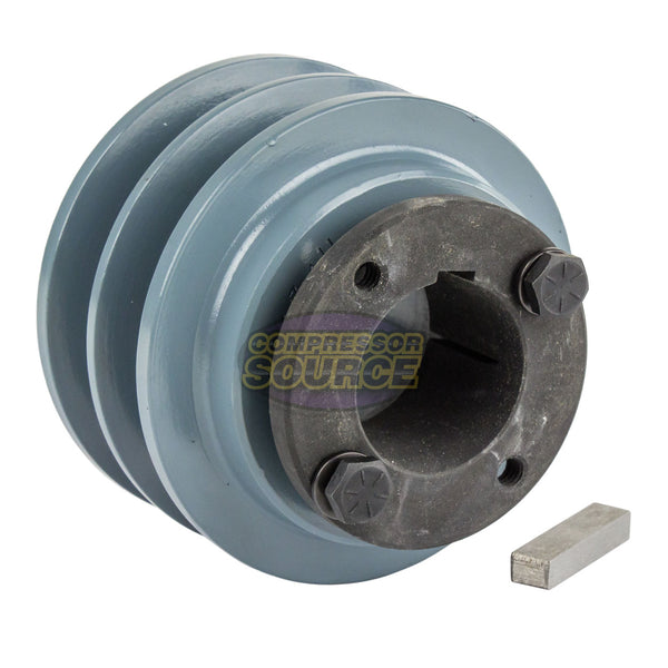 "Cast Iron 3.35"" 2 Groove Dual Belt B Section 5L Pulley And 1-3/8"" Sheave Bushing"