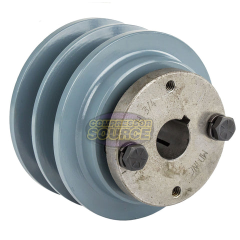 "Cast Iron 3.5"" 2 Groove Dual Belt B Section 5L Pulley With 3/4"" Sheave Bushing"