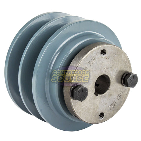 "Cast Iron 3.35"" 2 Groove Dual Belt B Section 5L Pulley With 5/8"" Sheave Bushing"