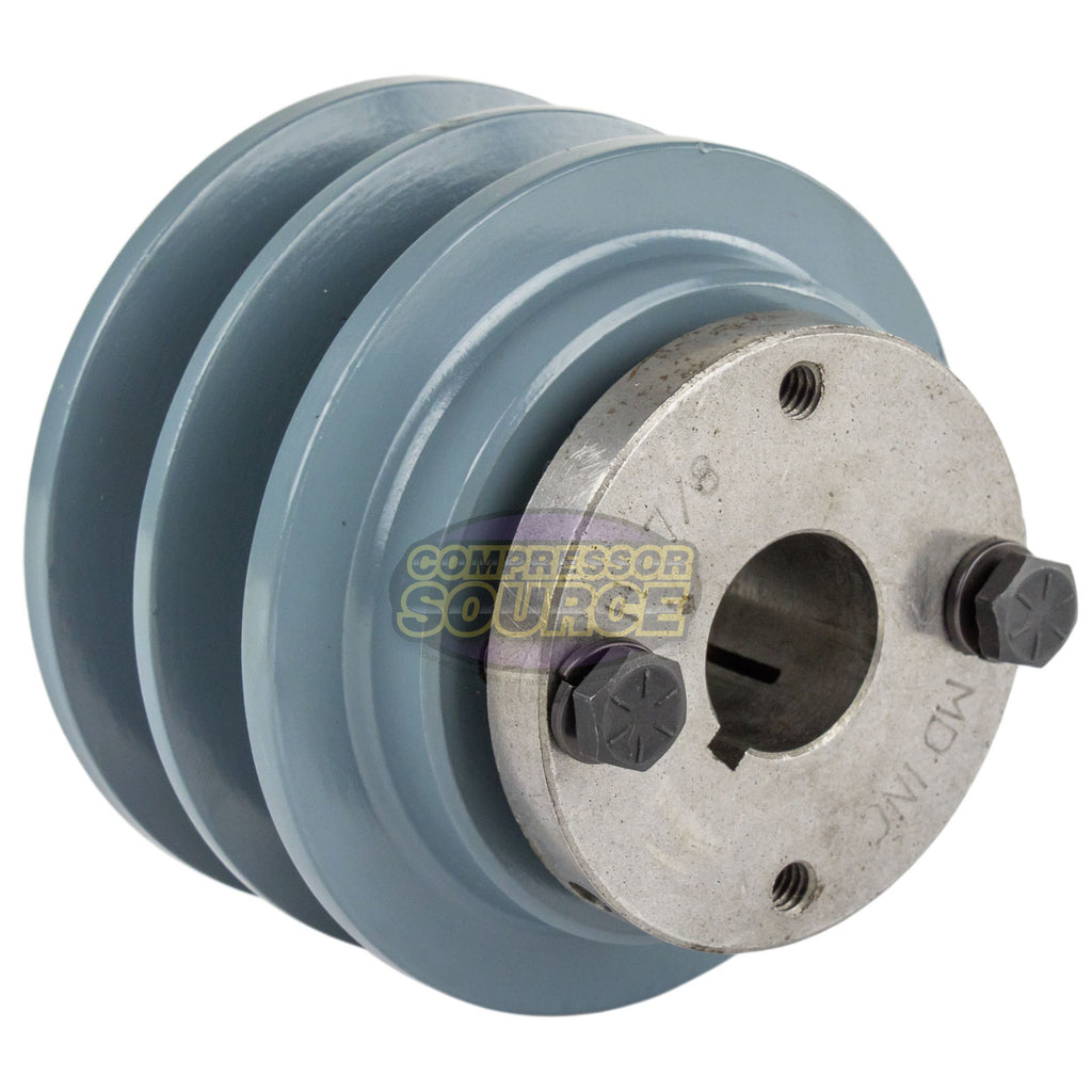 "3.35"" Cast Iron Dual Groove Pulley B Belt (5L) Style with 7/8"" Bore H Bushing"
