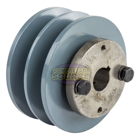 "Cast Iron 3.75"" 2 Groove Dual Belt B Section 5L Pulley With 3/4"" Sheave Bushing"