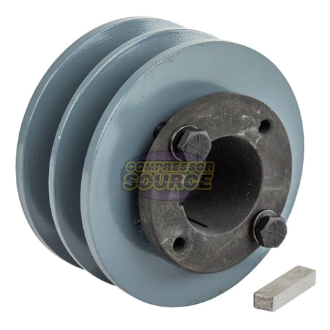 "Cast Iron 3.75"" 2 Groove Dual Belt B Section 5L Pulley And 1-3/8"" Sheave Bushing"