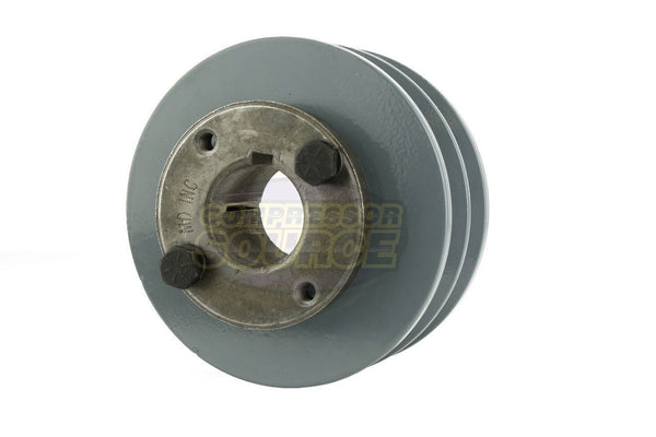 "4"" Cast Iron Dual Groove Pulley B Belt (5L) Style with 1-3/8"" Bore H Bushing 2BK40H"