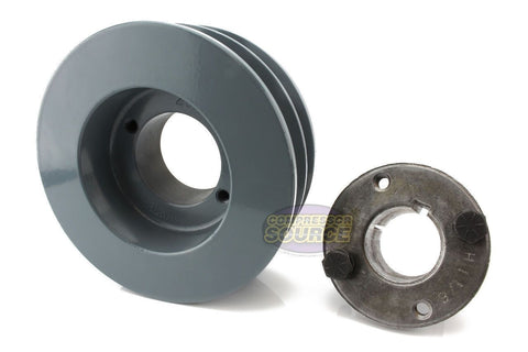 "4.5"" Cast Iron Dual Groove Pulley B Belt (5L) Style with 7/8"" Bore H Bushing"