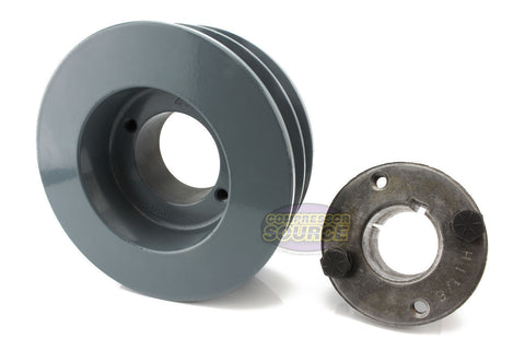 "4.5"" Cast Iron Dual Groove Pulley B Belt (5L) Style with 1-1/8"" Bore H Bushing"