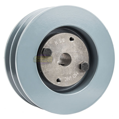 Cast Iron 5.5 2 Groove Dual Belt B Section 5L Pulley with 1 Sheave Bushing