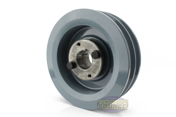 "6"" Cast Iron Dual Groove Pulley B Belt (5L) Style with 1-1/4"" Bore H Bushing 2BK62H"
