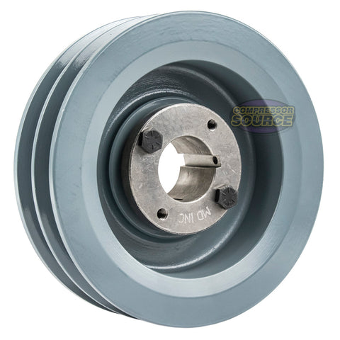 "6"" Cast Iron Dual Groove Pulley B Belt (5L) Style with 1-3/8"" Bore H Bushing 2BK62H"