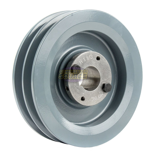 "5.75"" Cast Iron Dual Groove Pulley B Belt (5L) Style for 1-1/8"" Shaft"