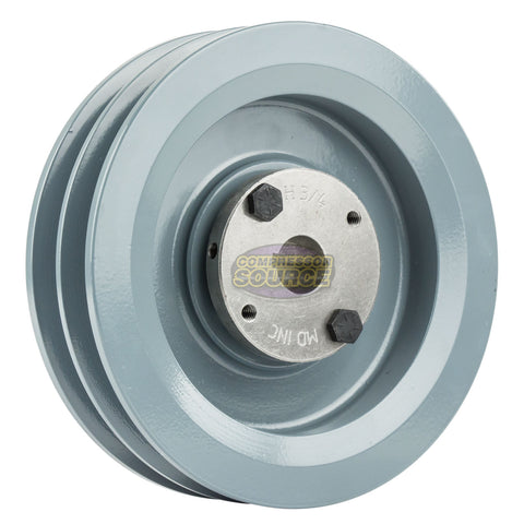 "6.25"" Cast Iron Dual Groove Pulley B Belt (5L) Style with 3/4"" Bore H Bushing"