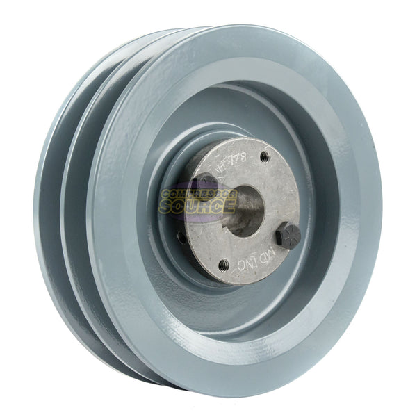 "6.25"" Cast Iron Dual Groove Pulley B Belt (5L) Style with 7/8"" Bore H Bushing"