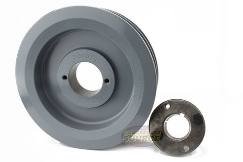 "6.5"" Cast Iron Dual Groove Pulley B Belt (5L) Style with 1-1/8"" Bore H Bushing"