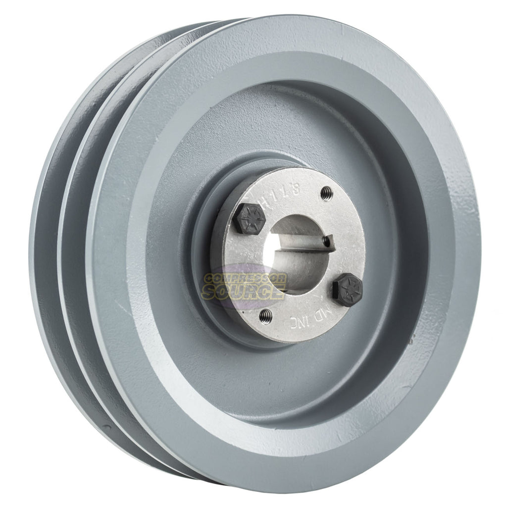 "6.75"" Cast Iron Dual Groove Pulley B Belt (5L) Style with 1-1/8"" Bore H Bushing"