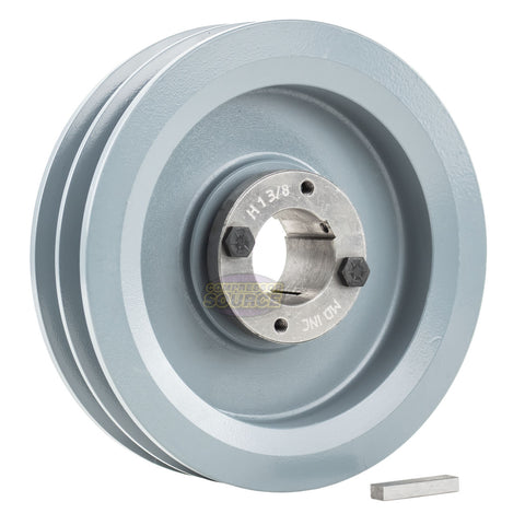 "6.75"" Cast Iron Dual Groove Pulley B Belt (5L) Style with 1-3/8"" Bore H Bushing"
