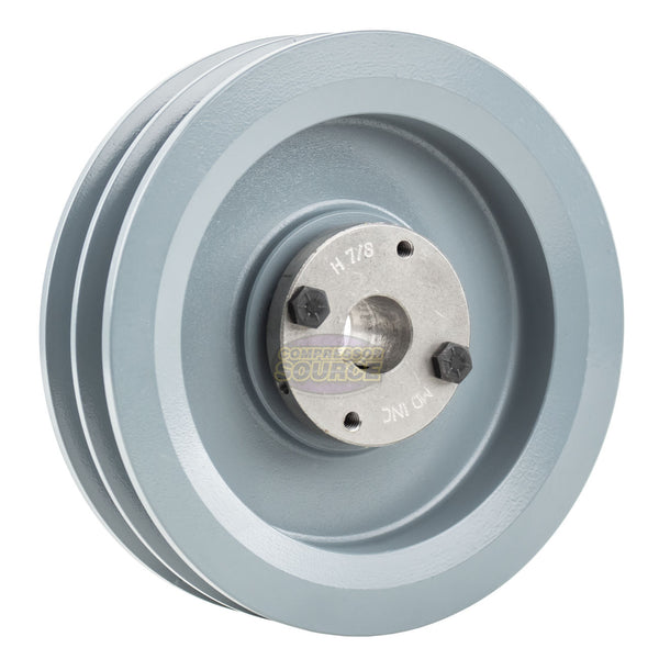 "6.75"" Cast Iron Dual Groove Pulley B Belt (5L) Style with 7/8"" Bore H Bushing"
