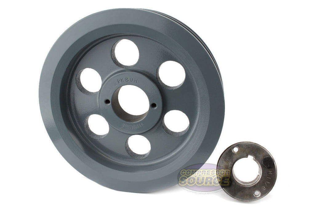 "7.75"" Cast Iron Dual Groove Pulley B Belt (5L) Style with 5/8"" Bore H Bushing"