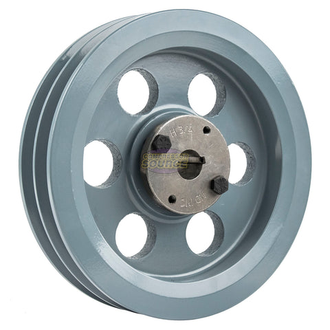 "7.75"" Cast Iron Dual Groove Pulley B Belt (5L) Style with 3/4"" Bore H Bushing"