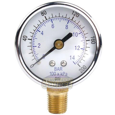 "1/4"" NPT 0-200 PSI Air Pressure Gauge Lower Side Mount"