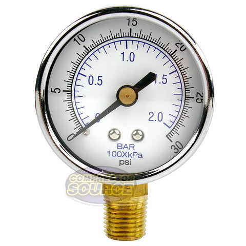 "1/4"" NPT 0-30 PSI Air Pressure Gauge Lower Side Mount With 2"" Face"