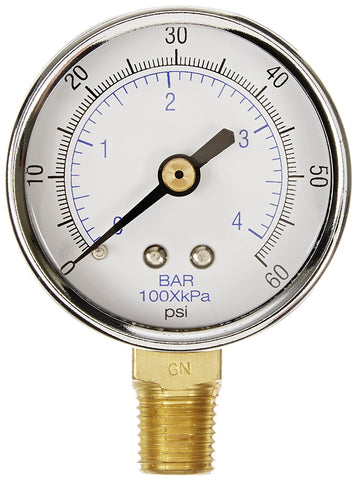 "1/4"" NPT 0-60 PSI Air Pressure Gauge Lower Side Mount With 2"" Face"